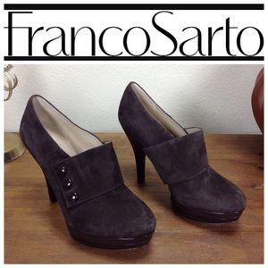 Franco Sarto Brown Suede Round Toe Platform Bootie
